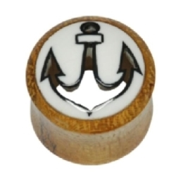 Wood plug Anchor Cut Out Bone Inlay