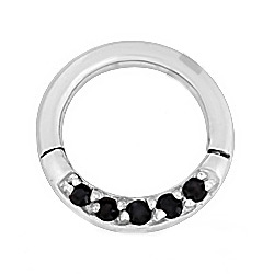 Steel Cubic Zirconia Hinged Septum Ring