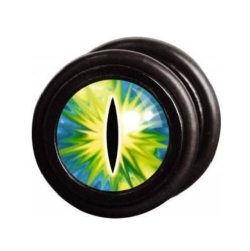 Fake Black Steel Plug 52 - Green Cat Eye