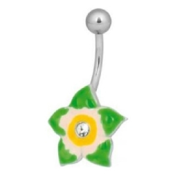 Steel Jewelled Green Flower Navel Bananabell
