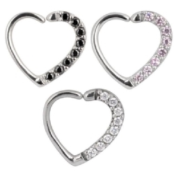 Steel Multi Jewelled Crystal Heart Ring - Left