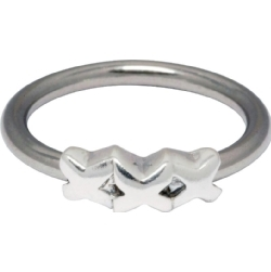 Steel/Silver Closure Ring 05 - Triple X (For Lip & Navel)