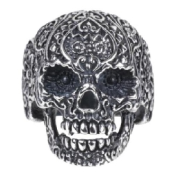 Steel Tattooed Skull Ring