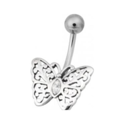 Titan Basicline® Navel Bananabell with Silver Setting Butterfly