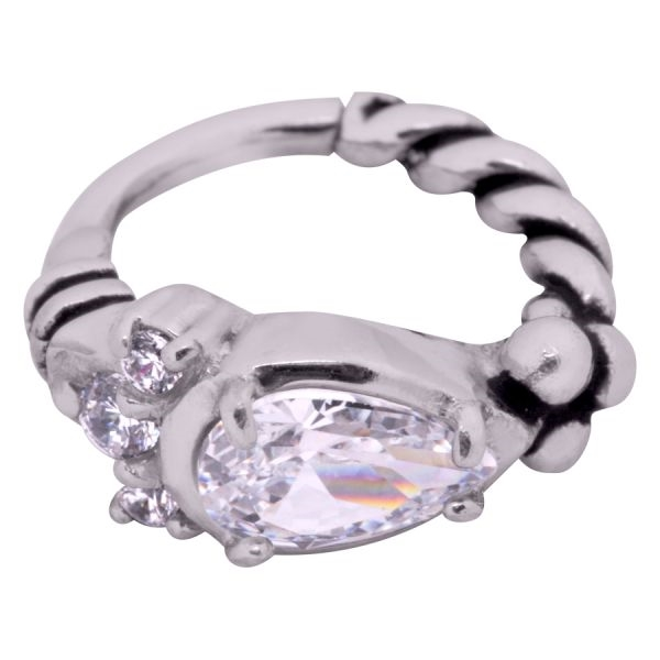 Steel Basicline® – Hinged Bohemian Drop Clicker ring
