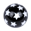Acrylic Threaded Design Ball 01 - White Stars On Black
