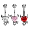 Steel Crystal Devil Heart Navel Bananabell