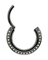 Steel Blackline® Triple Slanted Hinged Septum Ring w. Cubic Zirconia