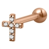 Steel Roseline® Helix Ear Stud - Jewelled Cross
