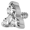Steel Basicline® Trinity Dermal Attachment for Internally Threaded Jewellery
