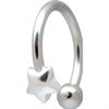 Steel & Silver Star Circular Barbell (For Lip & Navel) - 02