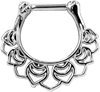 Steel Silver Floral Septum Clicker