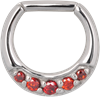 Steel Colourful Jewelled Hinged Septum Clicker