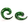 Pyrex Glass Green Glitter Spiral